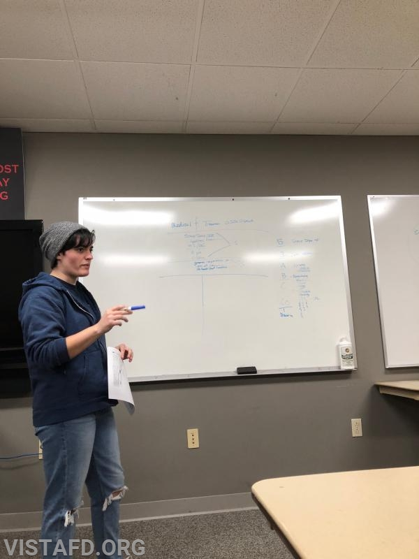 "Foreman Karen Lilly going over how to conduct a medical and trauma assessment during ""EMT Skills Class"""
