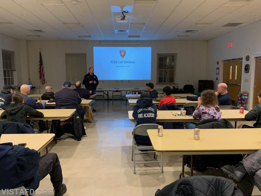 """Chief Jeff Peck leading the """"2018 Call Reviews"""" drill"""