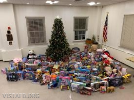 "Toys collected during the Vista Fire Department's 2018 ""Toys for Tots"" toy drive"