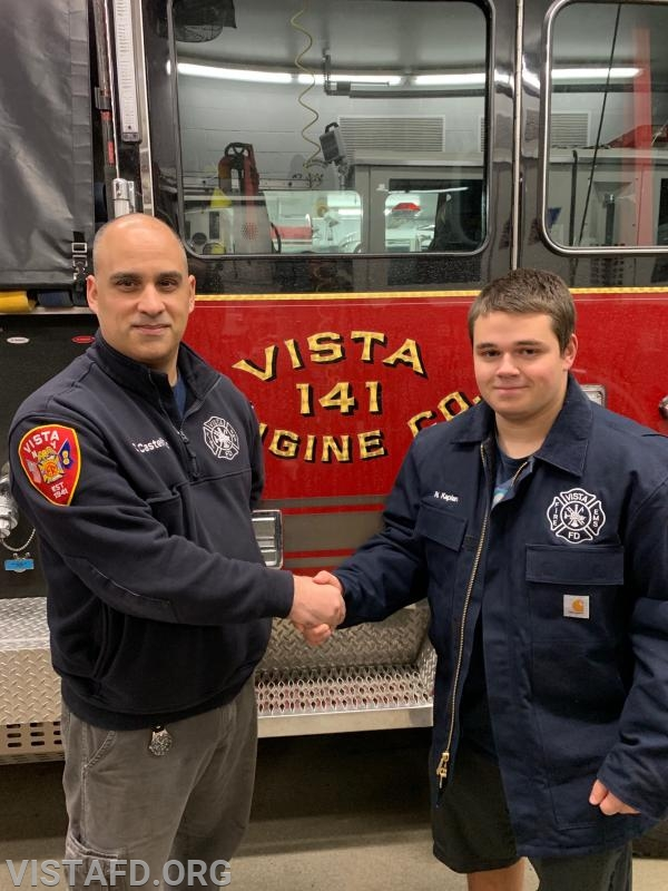 Firefighter/EMT Candidate Nicholas Kaplan and his mentor, Foreman Dan Castelhano