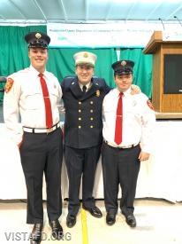 Firefighter Peter Sloan, Chief Jeff Peck and Firefighter/EMT Candidate Nicholas Kaplan