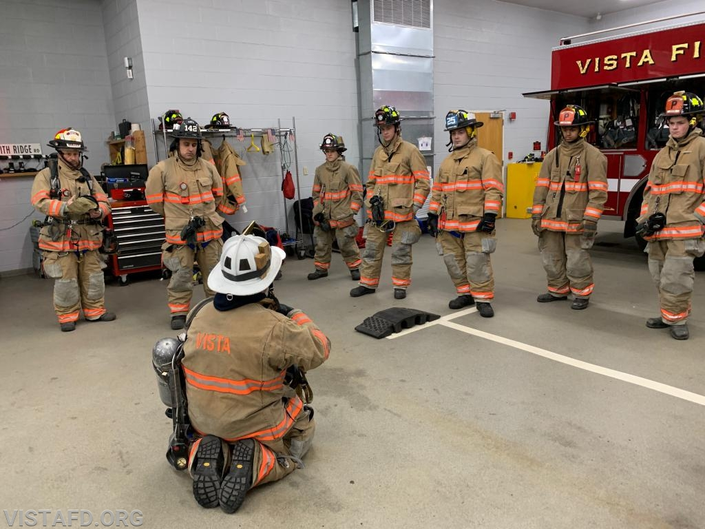 Vista Firefighters learning about SCBA removal