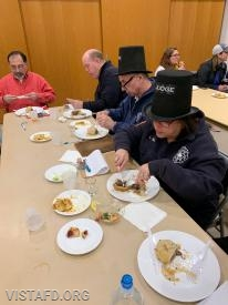 The cooking competition judges trying out meals from the Vista Fire Department Saturday Platoons