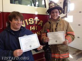 FF J.T. Bowensmith & FF Jake Melcher show off their F.A.S.T. class certificates