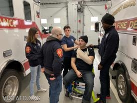Foreman Mike Canil and Foreman Karen Lilly going over how to properly splint
