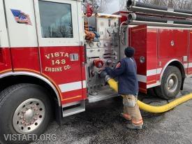 Firefighter Dom Mangone pumping Engine 143
