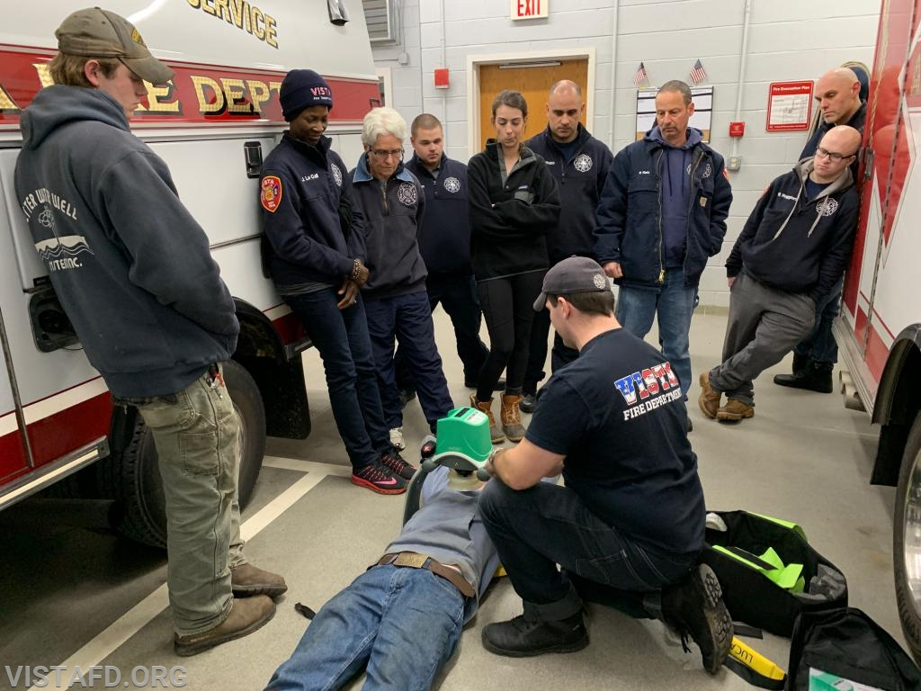 Foreman Mike Canil going over how to use the Lucas CPR device