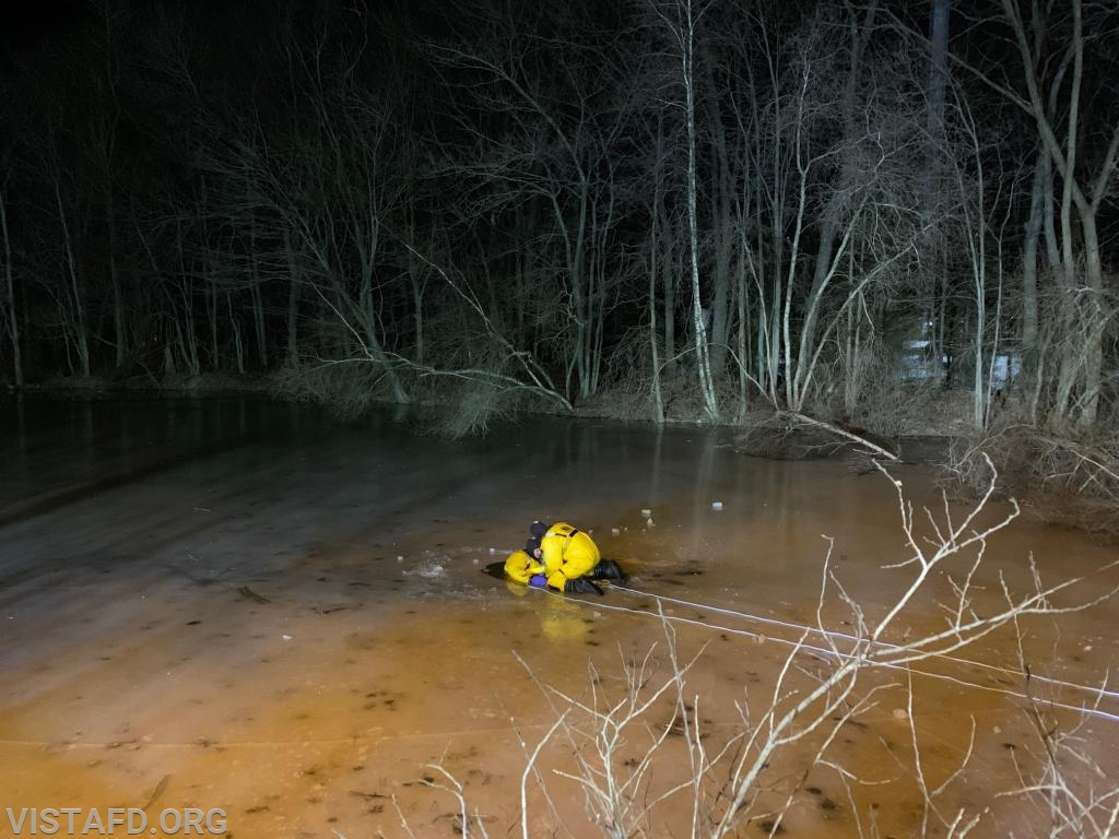 Vista Fire Department personnel performing an ice water rescue