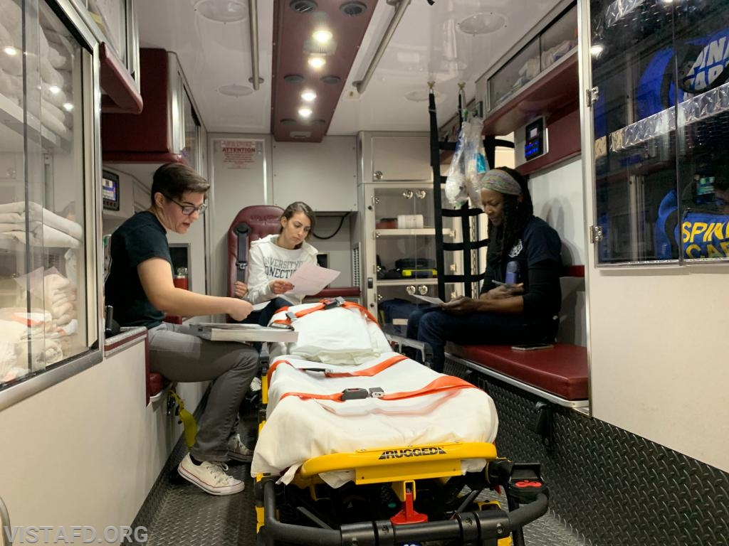 "Foreman Karen Lilly going over how the pre-hospital care report (PCR) during ""EMT Skills Class"""