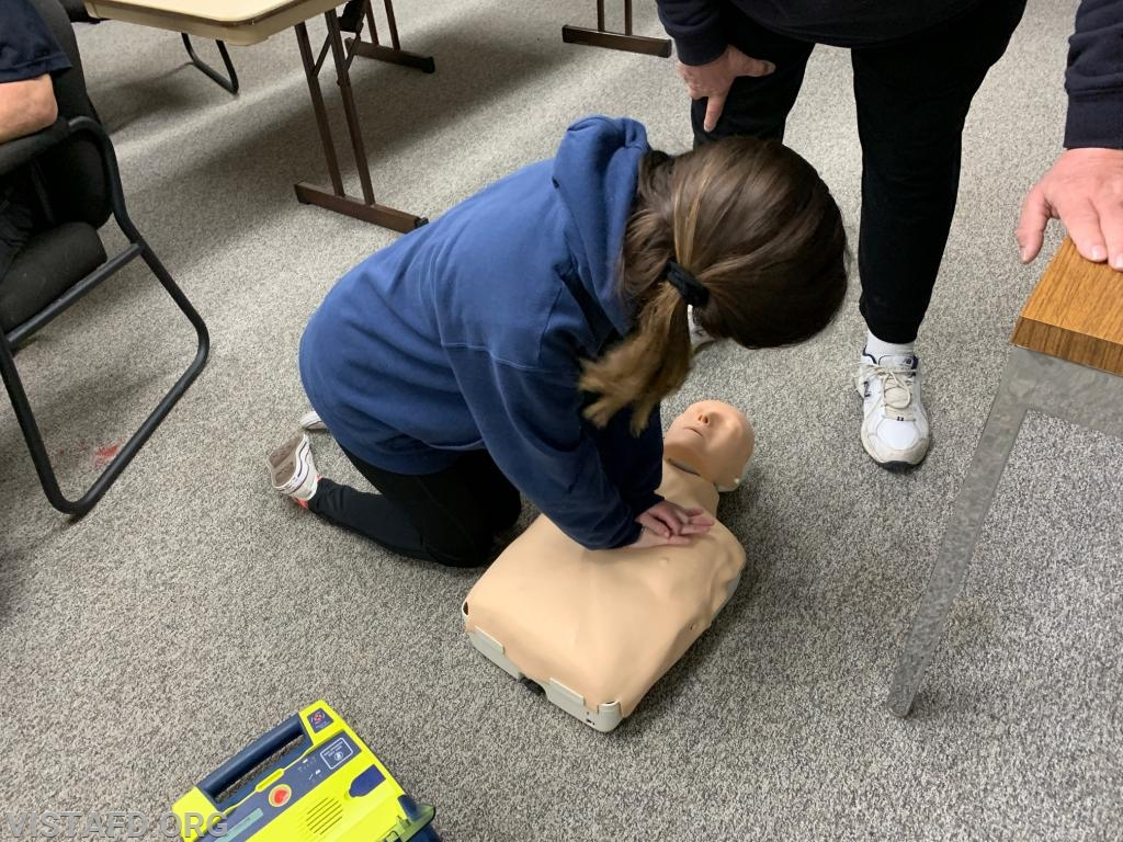 EMT Candidate Jasmine Lilly performing CPR during the AHA CPR Class