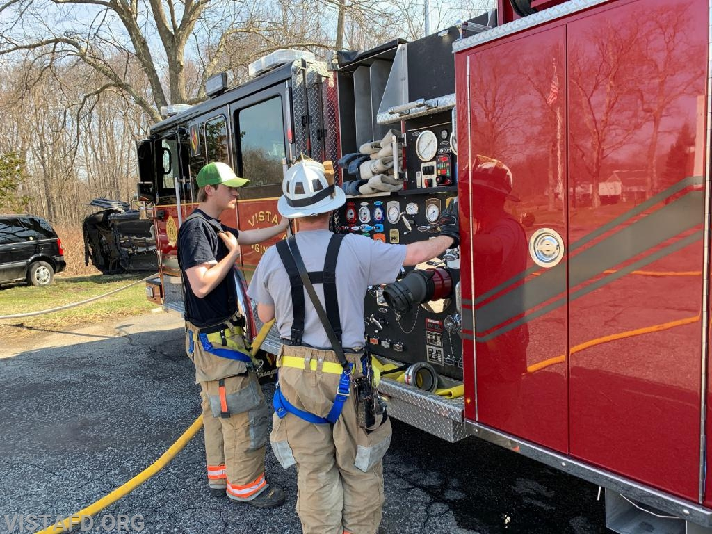 "Asst. Chief Mike Peck going over how to pump Engine 141 during ""MPO & Firefighter Skills Class"""