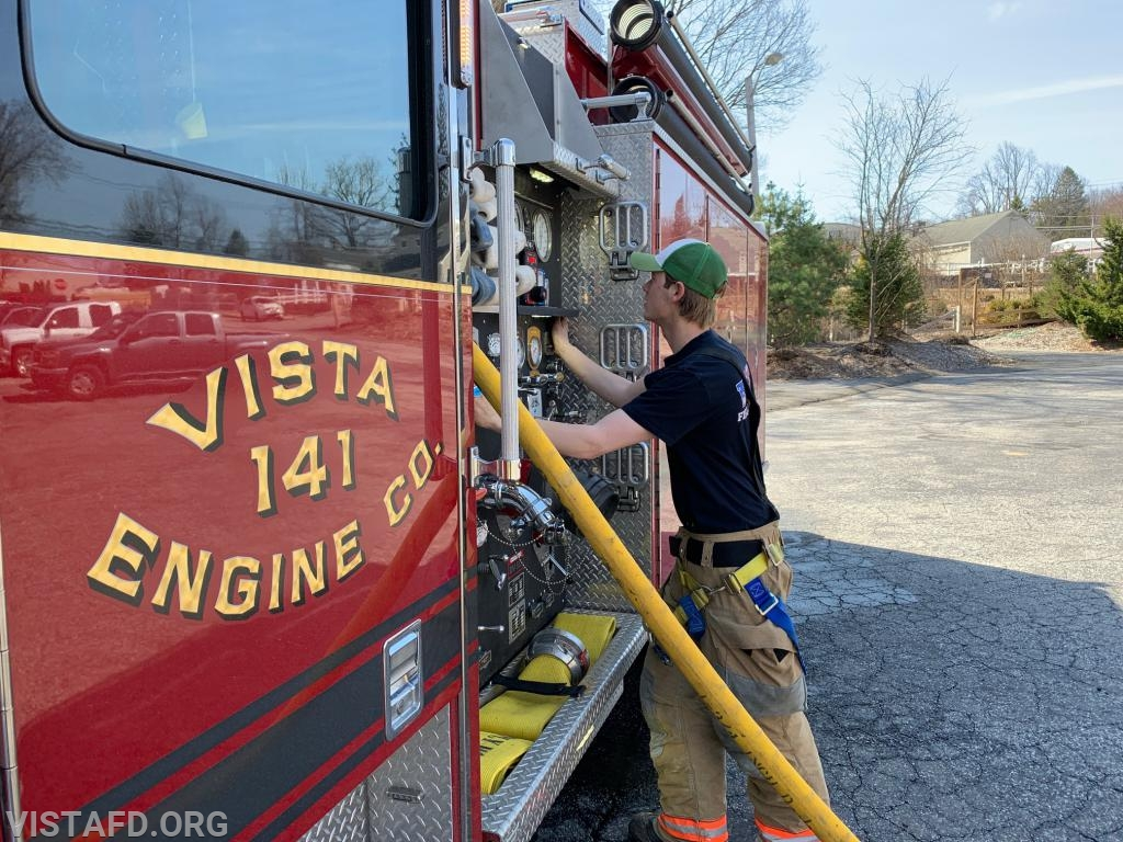 Foreman Patrick Healy practicing how to pump Engine 141