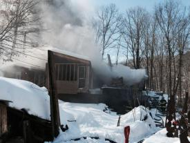 The Vista FD sent Tanker 4 & Engine 141 to a working structure fire in Golden's Bridge, NY at the intersection of Lake Street & Danger Road on 2/25/15 (Photo credit: Frank Becerra Jr./The Journal News)