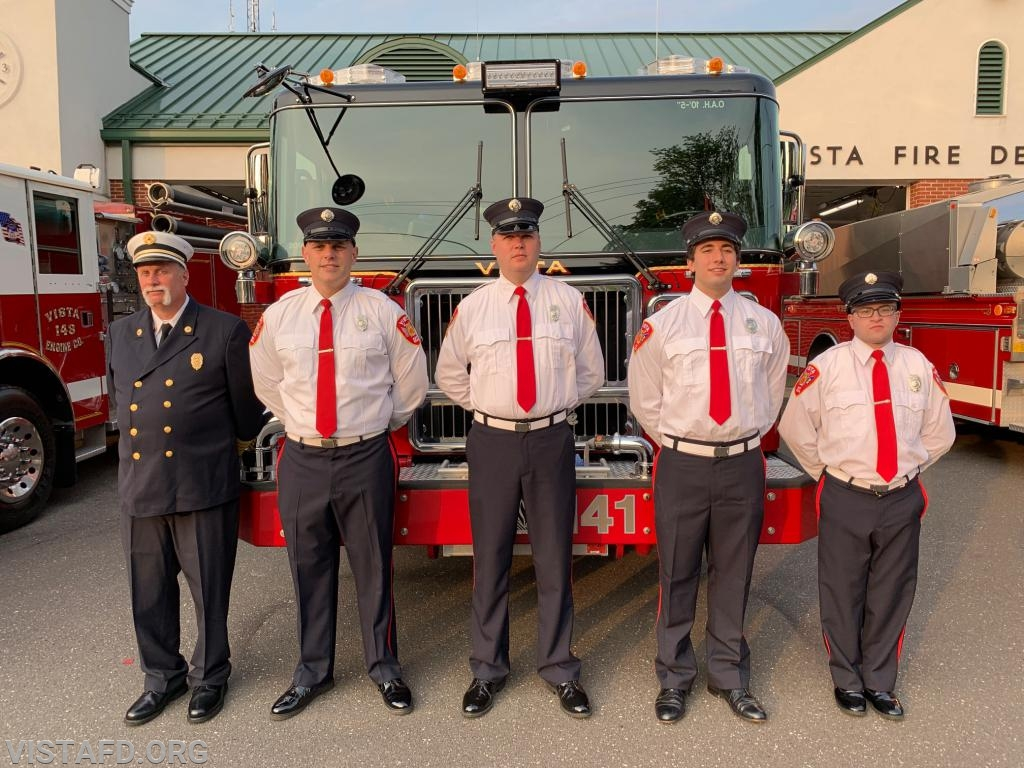 (L-to-R) Ex-Chief Bill Dingee, Lead Foreman Marc Baiocco, FF Dan Gjodesen, Probationary FF Joe Silvestro and FF/EMT Ryan Ruggiero from Engine 141
