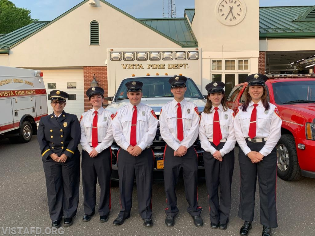 (L-to-R) Capt. Debbie Ferman, Foreman Karen Lilly, FF/EMT Nick Kaplan, Probationary FF Jacob Agona, EMT Candidate Jasmine Lilly and FF/EMT Elly Hersam from Ambulance 84B1