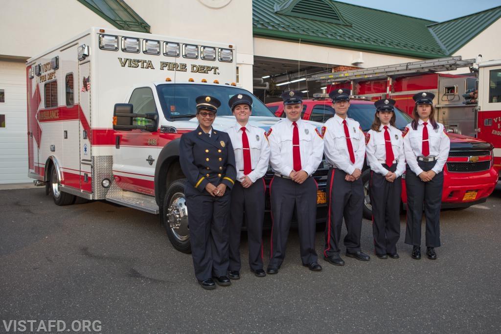 84B1 crew: Capt. Debbie Ferman, Foreman Karen Lilly, FF/EMT Nick Kaplan, Probationary FF Jacob Agona, EMT Candidate Jasmine Lilly and FF/EMT Elly Hersam