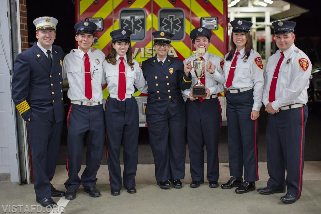 The 84B1 crew and Chief Jeff Peck with the Best Ambulance Trophy