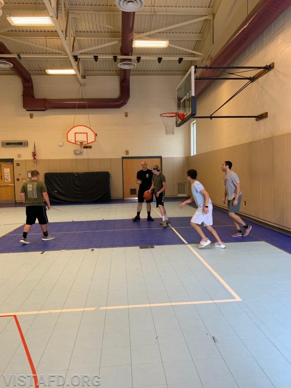 Vista Fire Department members playing in the 2019 Saturday Platoons 3-on-3 Basketball Tournament
