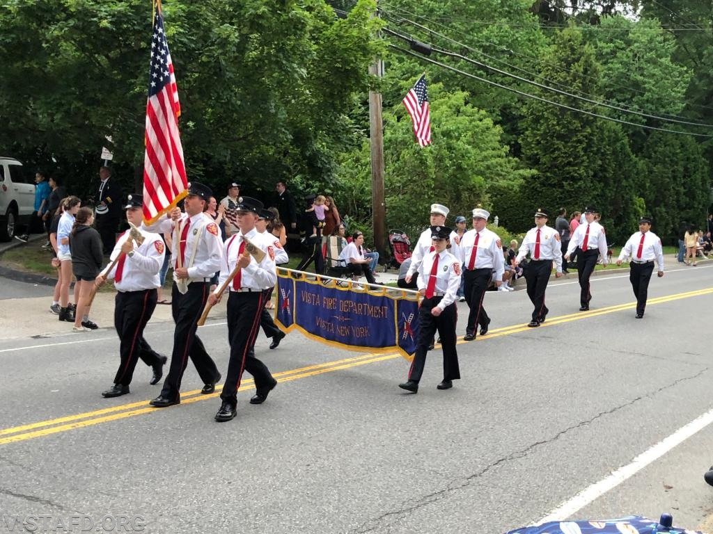 The Vista Fire Department marching in the 2019 Katonah Fire Department Parade