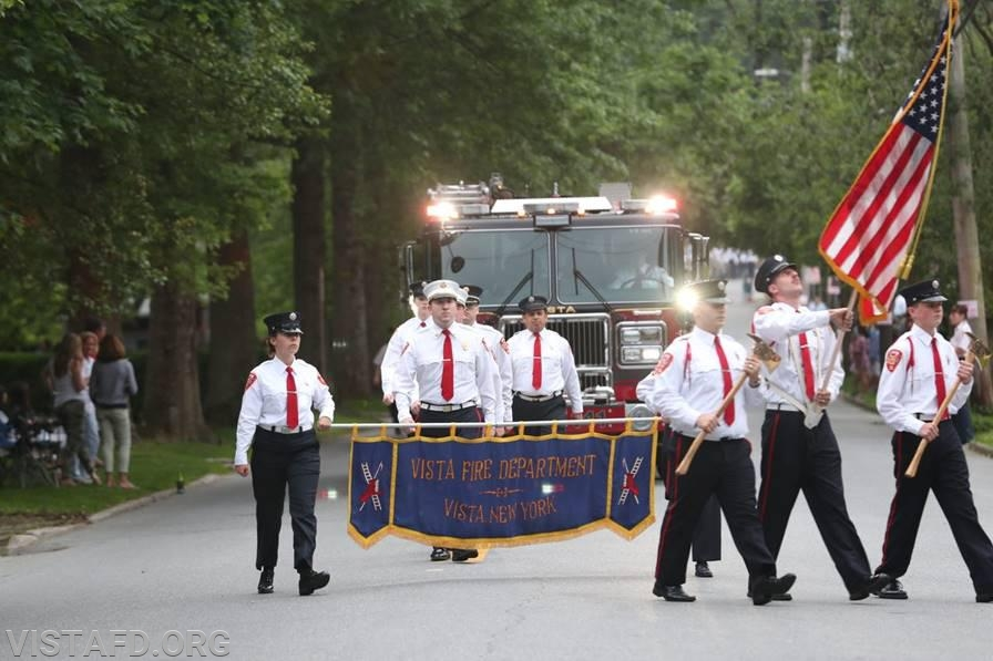 The Vista Fire Department marching in the 2019 Katonah Fire Department Parade (Photo courtesy of Lohud.com)