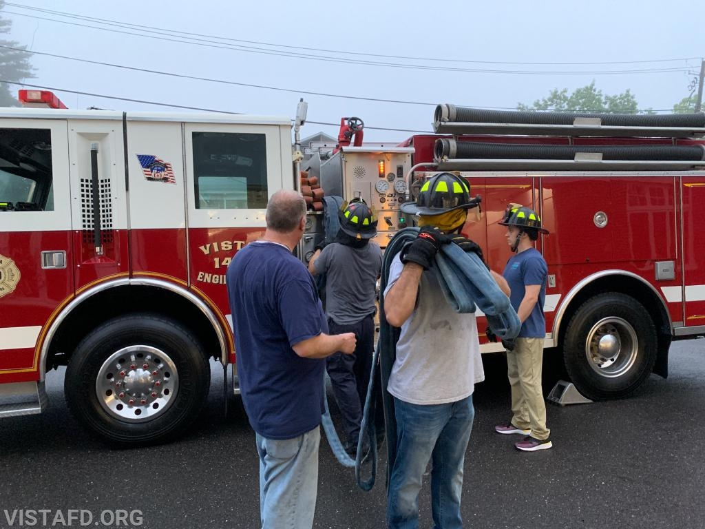 """Vista Firefighters practicing how to operate an 1-3/4"""" preconnect hoseline"""