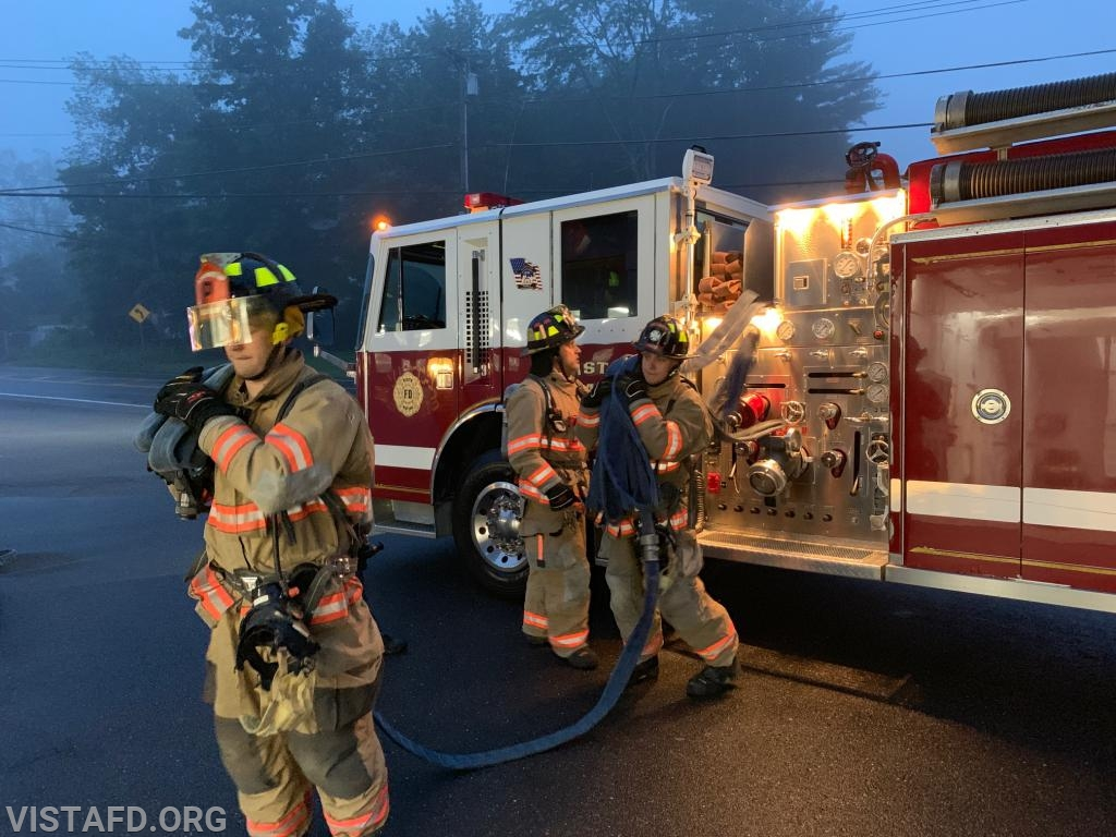 """Vista Firefighters going through 1-3/4"""" preconnect hoseline evolutions"""