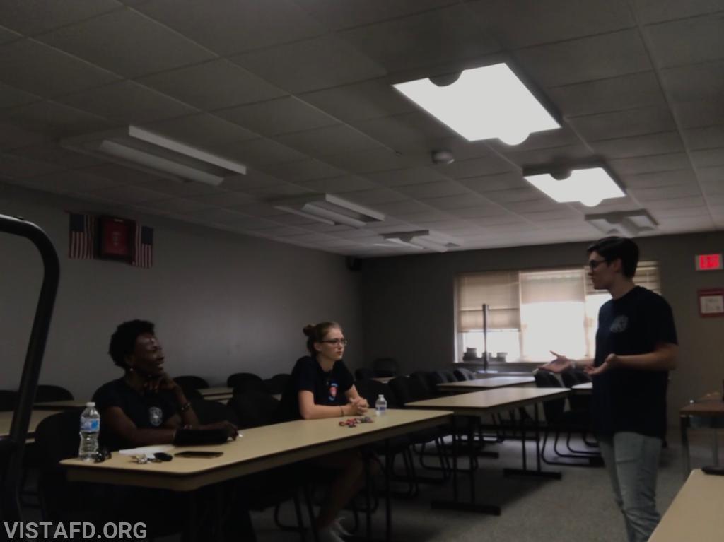 "Foreman Karen Lilly going over seizure assessments during ""EMT Skills Class"""